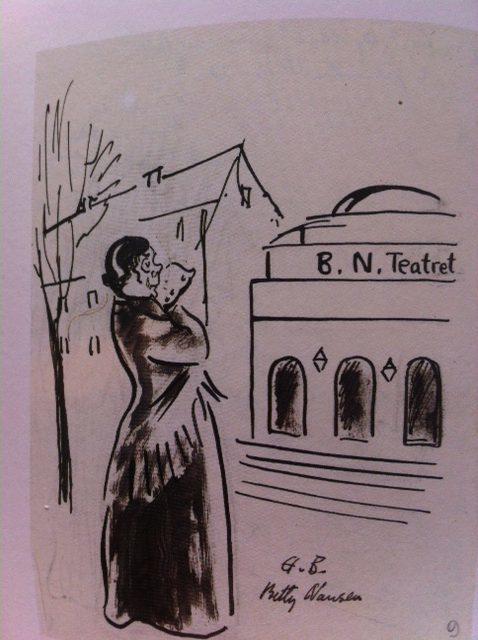 Teaterdirektør Betty Nansen foran sit teater - under en krise. Tegning af Hans Bendix.