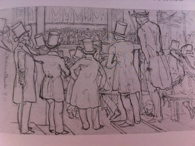 Herrer i hat og frakker som teaterpublikum. Teatermuseet i Hofteatret.