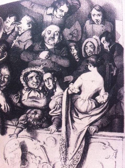 Ca.1840. Høkerloge I Det Kongelige Teater. Litografi af Edv. Lehmann efter tegning af Fritz Westphal. Måske opfanget i det øjeblik, hvor publikum har fået at vide, at billetpriserne stiger yderligere!