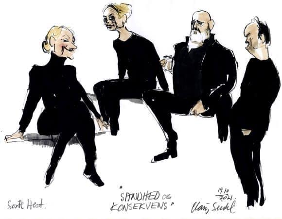 Nye tegninger fra den forrygende:  Sandhed og konsekvens – på Teatret ved Sorte Hest.